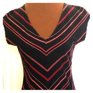 Black & Red Cap Sleeve Top, Ladies Sz Med